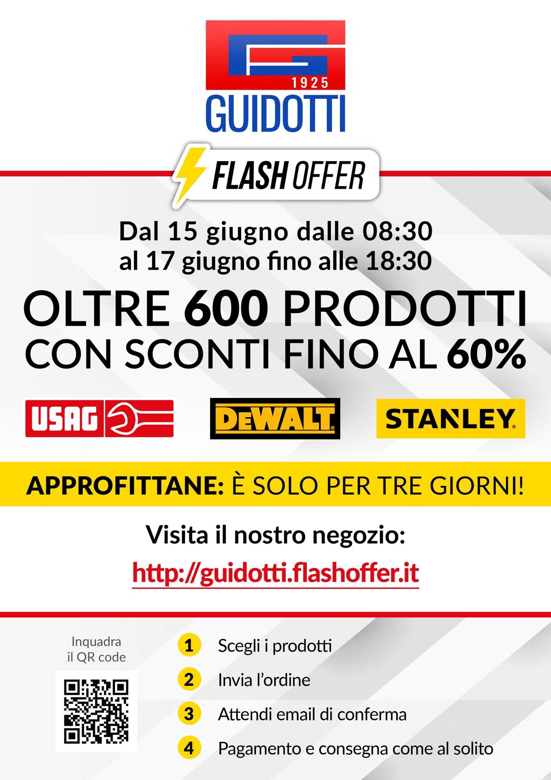Dal 15 al 17 Giugno in Flash Offer oltre 600 articoli Usag, Stanley e Dewalt con sconti fino al 60 per cento